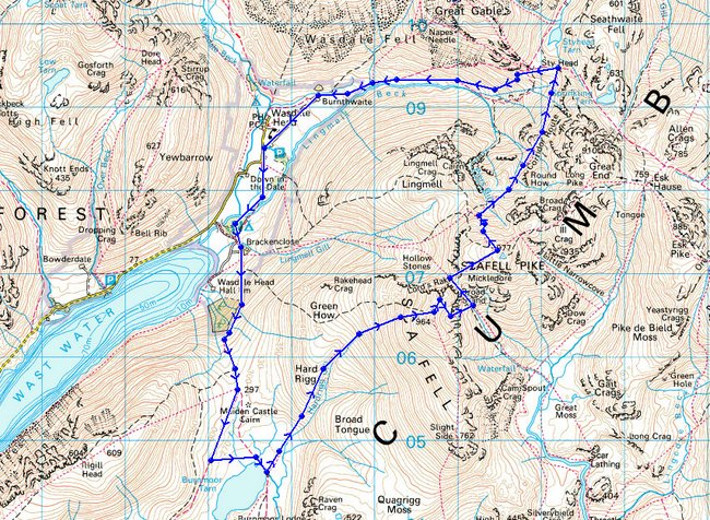 Scafell Pike Routes Map Route map of Scafell pike 853×624 » Walk With Me